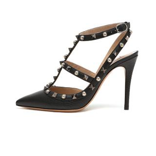 VALENTINO 华伦天奴 女士黑色牛皮袢带裸踝尖头高跟鞋 QW2S0393 HTX 0NO 7.5/37.5
