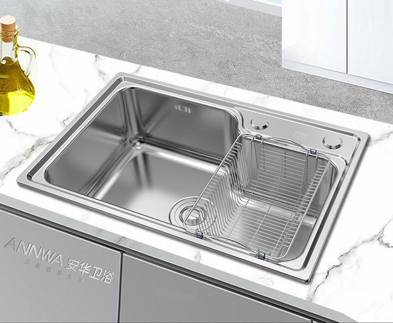 annwa 安华 anGP584311R 304不锈钢水槽套餐 标配款+水龙头 58x43cm