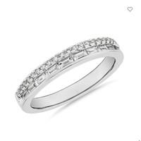 银联爆品日:Blue Nile ZAC Zac Posen 双排长方形和密钉钻石戒指 14k白金 3/8克拉