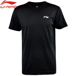 李宁liningT恤速干短袖健身瑜伽运动户外跑步训练休闲文化衫AHSN945-2/ATSP503-1 黑色 2XL码 男款