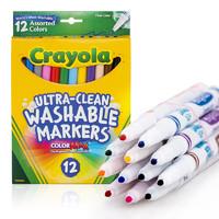 绘儿乐crayola 水彩笔可水洗12色彩色细头绘画笔儿童安全58-7813 *9件