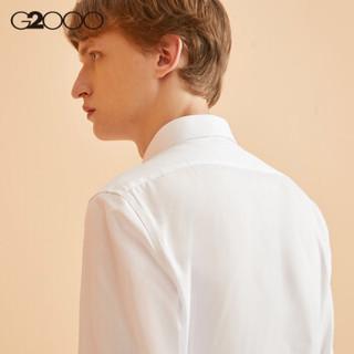 G2000男装波点纹长袖衬衫 春季商务休闲修身防皱男士衬衣 白色/00 07/175