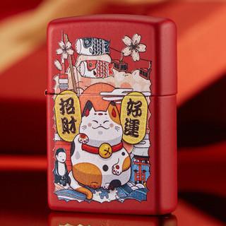 之宝(Zippo)打火机 招财猫红哑漆 彩印233-C-000016