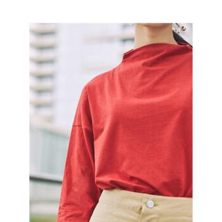 茵曼(INMAN)2019秋季新款纯色半高领休闲百搭运动潮流长袖T恤女 18930|21483 大红色 S