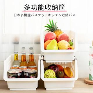 和匠Worldlife 食品收纳蓝蔬果收纳筐 可叠加厨房夹缝整理篮杂物储物筐 水果蔬菜置物架 白色 C0-160