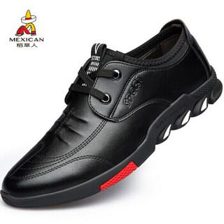 稻草人 MEXICAN 商务休闲皮鞋男士正装英伦百搭耐磨驾车轻质 DCR113 黑色 41