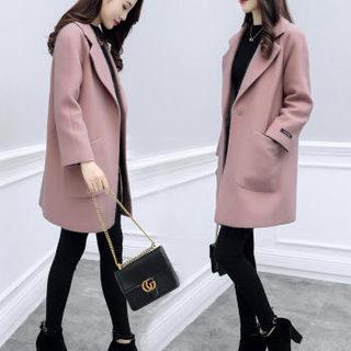 仙丫 2019秋季新款女装新品毛呢大衣女中长款小个子韩版显瘦毛呢外套女 XDD02 牛仔蓝 S