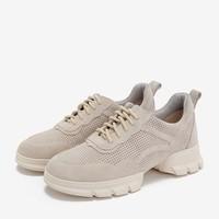 BASTO 百思图 RC338AM9B 女士牛剖层皮革系带休闲鞋