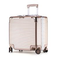 沃趣(woqu)铝框拉杆箱女行李箱18英寸登机箱万向轮旅行箱密码箱男旅行小箱子WQ803LK金色