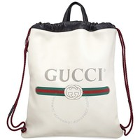 GUCCI 古驰 Printed Logo Leather 双肩包