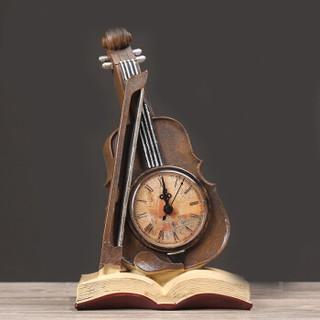 墨斗鱼 复古摆件小提琴钟表2340 中式简约古典雅致工艺品礼物卧室书房电视柜酒柜装饰品摆件