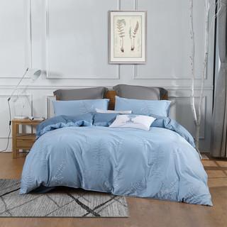 MERCURY 水星家纺 全棉床上四件套 禅叶浮影 浅灰蓝 1.8米