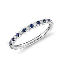 银联爆品日:Blue Nile Riviera 蓝宝石+钻石 排镶铂金戒指