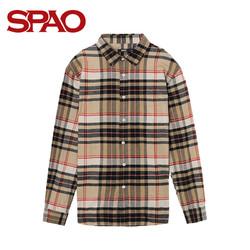 SPAO男装长袖衬衫新款格子衬衣男士法兰绒长袖多色衬衫SPYC849P03