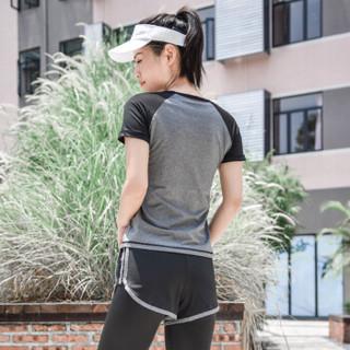 范迪慕 瑜伽服套装秋冬女显瘦运动健身速干跑步运动内衣短袖长裤外套五件套 YD20199-黑拼灰色-外套五件套-L