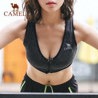 骆驼(CAMEL) 运动文胸跑步瑜伽健身内衣女款针织背心 A7S1Q9117 深麻灰 M