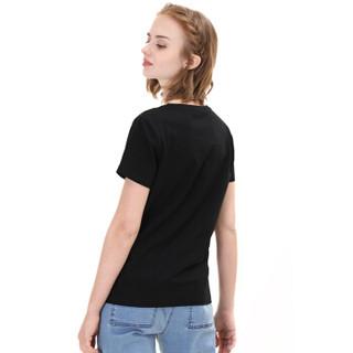 京东京造 J.ZAO 女士纯色圆领加厚重磅T恤 黑色 M(160/80A)