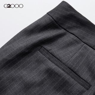 G2000女装修身西装裤 春季款英伦条纹OL职业通勤九分裤00750006 深灰色/98 36/165