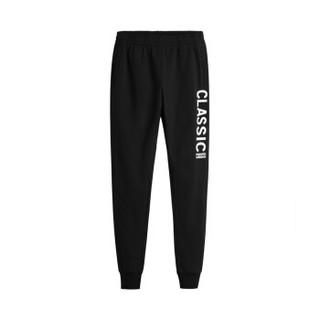 361度男裤冬季新款加绒针织长裤休闲运动裤 651844704-3 基础黑 XL