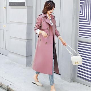 AUDDE 2019秋季女装新品风衣女中长款口袋长袖显瘦修身百搭时尚简约个性纯色 AAA0387 卡其色 L