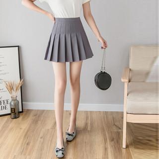 sustory 女装2019秋款学生高腰半身裙百褶裙短裙裤裙裙子女SUYH628 灰色 XL