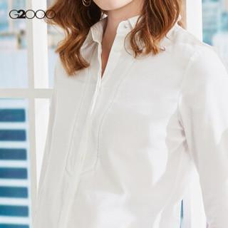 G2000暗扣纯棉女式白衬衫 纯色商务职业长袖衬衫女修身00740007 白色/00 34/160