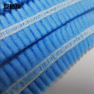 安赛瑞 39939 一次性无纺布帽子(100只装)蓝色 无纺布条形帽 无纺布发套 一次性无纺布头套 食品帽