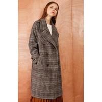 La Chapelle 拉夏贝尔 30084151 女中长款格子羊毛呢大衣