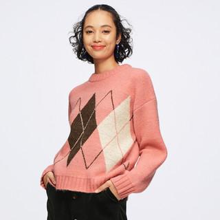 GU 极优 320148 女士菱形格针织衫