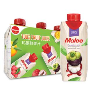 泰国原装进口 玛丽(Malee)100%果汁 山竹石榴复合果汁饮料0脂肪330ml*6瓶