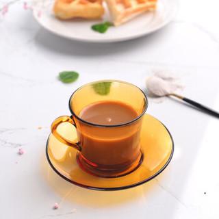 法国多莱斯钢化玻璃茶杯咖啡杯碟套装180ml 两只装