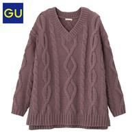 GU 极优 320455 女士V领毛衣