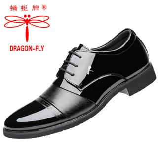 蜻蜓牌男士商务正装职场低帮潮流系带皮鞋子男 9015 黑色 44码