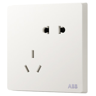 ABB 轩致系列 86型 插座 斜五孔 白色 10只装