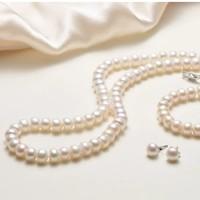 gN pearl 京润珍珠 白色淡水珍珠首饰三件套(项链+手链+耳钉)