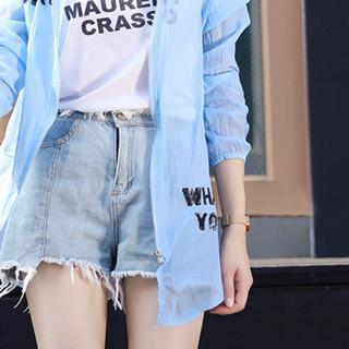 朗悦女装 2018夏季新款中长款防晒衣连帽长袖印花薄款透气沙滩服外套上衣 LWFY183639 蓝色 均码