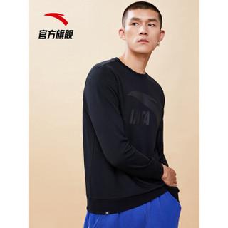 安踏 ANTA 官方旗舰卫衣男大LOGO运动休闲套头圆领卫衣男装 基础黑-4 XL(男180)
