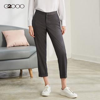 G2000女装修身西装裤 春季款英伦条纹OL职业通勤九分裤00750006 深灰色/98 34/160