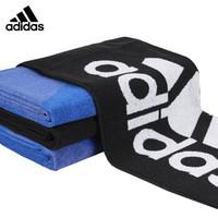阿迪达斯 Adidas 运动毛巾纯棉柔软吸汗健身跑步擦汗巾 加长 黑色