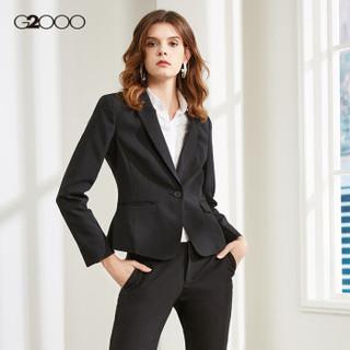 G2000女装商务优雅西装外套女长袖女装 标准单扣短款女士西服00710001 黑色/99 36/165