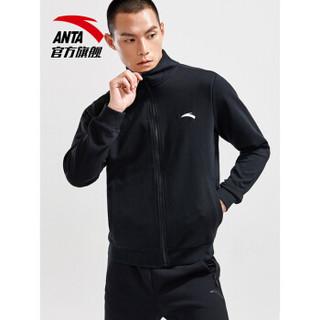 安踏 ANTA 官方旗舰运动外套男 运动休闲训练外套卫衣针织风衣夹克拉链 基础黑-3 M(男170)