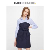 CacheCache长袖连衣裙2019新款假两件连衣裙中长款气质裹胸衬衫裙