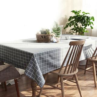意尔嫚 桌布家居 耐高温防水防油PVC免洗台布餐桌布艺140*180cm 现代简约餐桌台布 灰色格