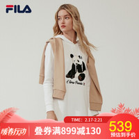 FILA 斐乐官方 女子卫衣 春季新款运动简约长款连帽卫衣女 标准白-WT 170/88A/L *3件