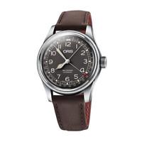 ORIS豪利时瑞表手表 航空系列指针式日历腕表 自动机械表男表 黑盘深棕皮带75477414064LS