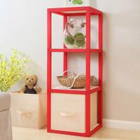 溢彩年华 置物架层架 环保储物柜 自由组装格子柜 创意书架 N+1收纳架 花架 13红色DKN1007