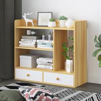 朗程 书柜书架 置物架文件柜储物收纳柜子双抽屉 新浅胡桃+暖白抽面
