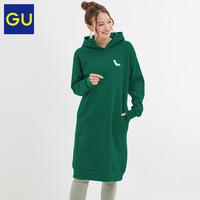 GU极优  324807 女装连帽套头卫衣连衣裙