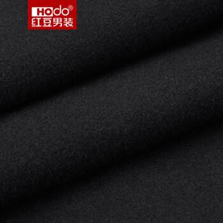 红豆 Hodo 男装 大衣男时尚简约翻领开叉大衣男士商务羊毛混纺毛呢大衣 S5黑色 170/88A