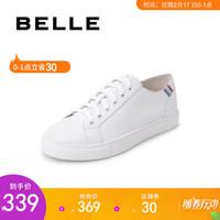 BELLE/百丽女鞋休闲鞋新款商场同款牛皮革/亮片布小白鞋BXGH4AM9 白/金/银/兰 35 *3件